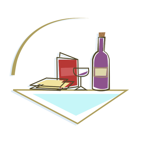 Seder Table Icon - Stylized icon of Passover Seder table with Passover items. Eps10 Çizim