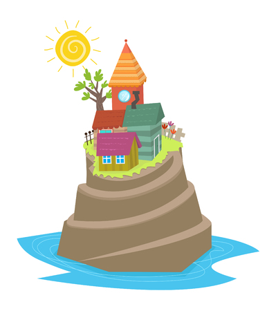 crooked: Island - Cartoon mountain island with crooked houses at the top. Eps10