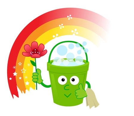 spring cleaning: Bucket With Flowers - Cute cartoon bucket with bubbles,flower and a cloth is standing in front of a rainbow.