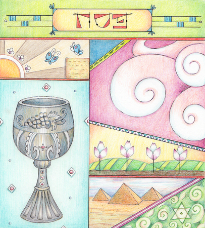 Passover Greetings - Colored pencils greeting card for Passover.