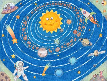 pluto: Solar System For Kids - Fun illustration of the solar system.