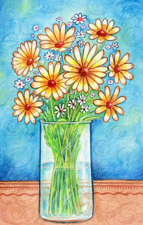 glass vase: Vase With Flowers - Watercolor painting of a glass vase with yellow flowers, and decorative background.