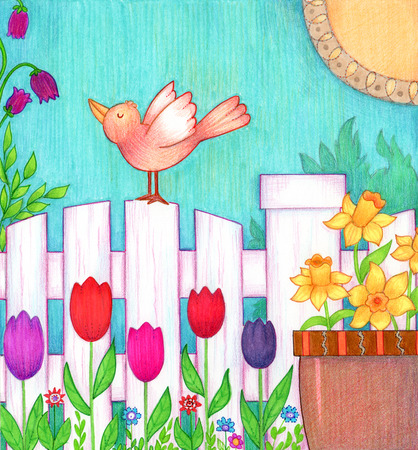 white fence: Bird on Fence - Decorative and colorful illustration of a bird standing on a white fence with spring flowers around it.