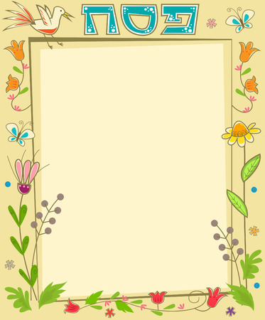 hebrew: Passover Floral Note - Decorative floral blank banner with the word Passover in Hebrew at the top. Eps10
