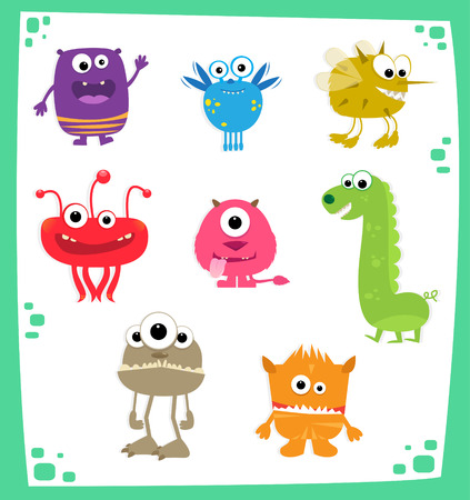 alien clipart: Monsters - Cute cartoon set of eight colorful monsters. Illustration