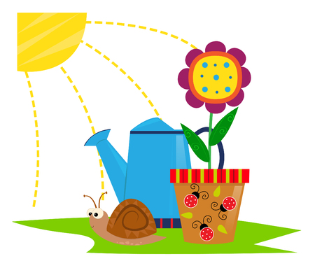 springtime: Spring Icon - Cute cartoon Clip-art of a flower in a pot with ladybugs in front of a watering can, snail and a sun. Illustration