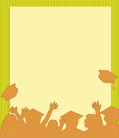 tossing: Graduation Note - Stylized brown silhouette of grad students in front of a blank sign. Illustration