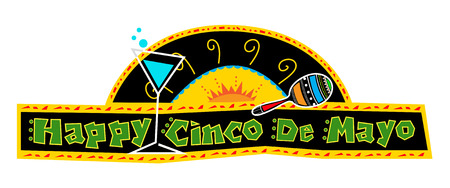 Happy Cinco de Mayo Banner - Mexican art style Cinco de Mayo banner made with bold colors includes decorative text and Mexican elements on a black background.