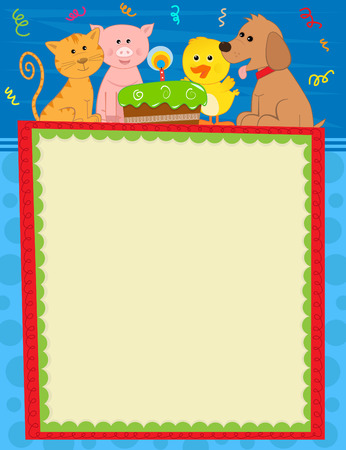 duckling: Animal Birthday Sign - Blank sign with dog, duckling, pig, cat and a cake at the top and festive background.  Illustration