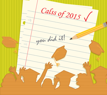 Class of 2015 - Silhouette of cheering grad students in front of a lined paper with pencil and text that says:  class of 2015 you did it. Eps10