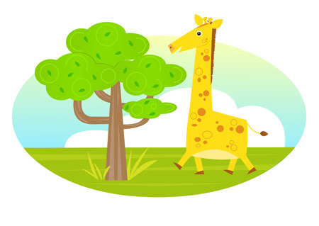 Giraffe and a Tree - Cute cartoon giraffe walks toward a tree. Eps10