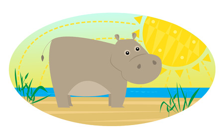 cartoon hippo: Cartoon Hippo - Cute cartoon hippo stands near a river and a stylized sun.