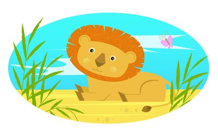 Baby Lion - Cute baby lion sits on the ground behind bushes.  Ilustrace