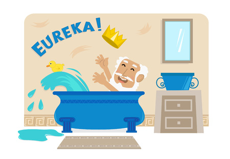 bathroom cartoon: Archimedes In Bathtub - Cartoon illustration of Archimedes in his bathtub with the golden crown and the word Eureka at the top. Eps10