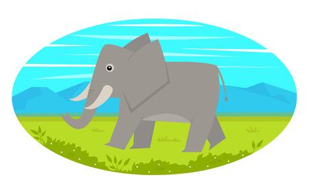 elephant cartoon: Walking Elephant - Cute cartoon elefante sta camminando su un prato, con le montagne vista sullo sfondo. Eps10