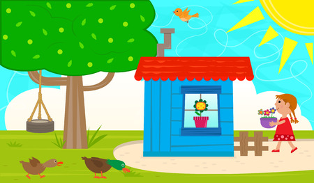 shed: Small Garden Shed - Cute garden with blue shed, tree and a tire swing, ducks, bird and a little girl carrying a pot with flowers. Eps10