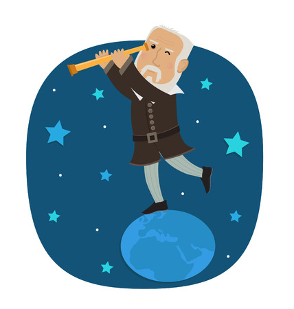 physicist: Galileo Galilei - Galileo is standing on earth looking in his telescope at the stars. Eps10