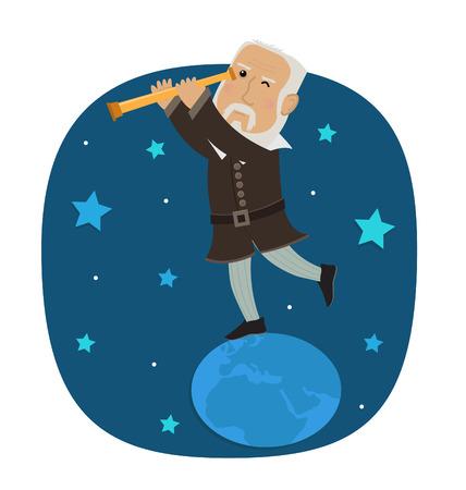 Galileo Galilei - Galileo staat op aarde te kijken in zijn telescoop naar de sterren. Eps10