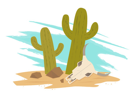 dry land: Desert - Cartoon Icon of two cactus, cow skull and rocks. Eps10