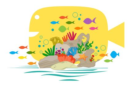 Coral - Coral reef clip art with colorful small fish and a big yellow fish in the background. Eps10