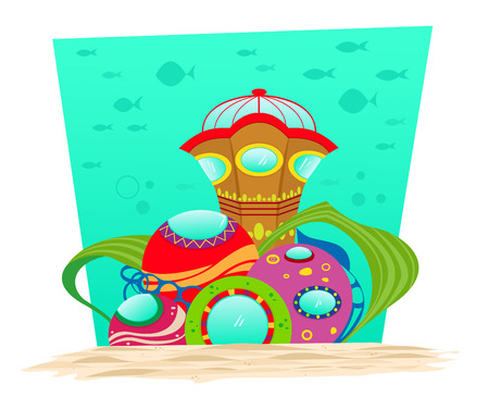 Underwater Observatory - Colorful and surreal underwater observatory with silhouette of fish in the background. Eps10