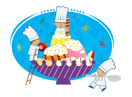 Banana Split Chefs - Three cute tiny chefs are decorating a bowl with banana and ice cream. Eps10 Çizim