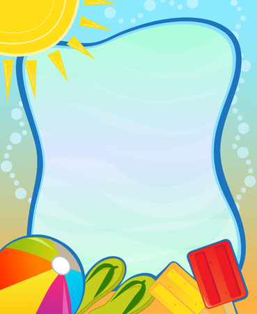 pool water: Summer Blank Sign  Colorful aquatic blank sign with beach ball flip flops and Popsicle. Eps10