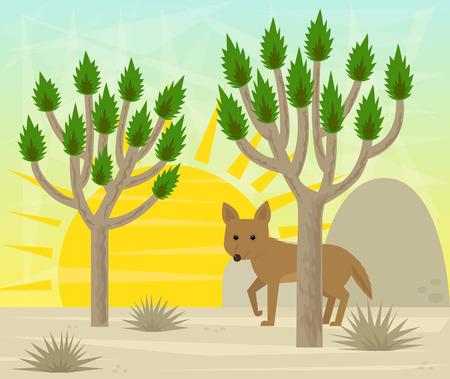 ジョシュア ツリーとコヨーテの漫画コヨーテは砂漠のジョシュア ツリーの後ろに立っています。
