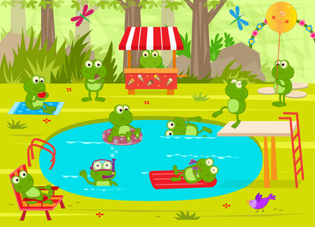 pond: Frogs Pool Party  Cute frogs are having fun at the pool.