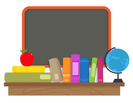 �tag�re bois: Livres et Chalkboard Cartoon livres pomme et un gant sont debout sur une �tag�re en bois en face d'un tableau blanc. Illustration