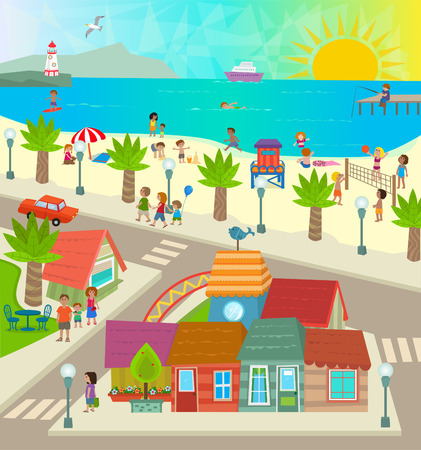 balon de voley: Vista de la playa de Ciudad aérea de una ciudad de tiendas de la playa del océano y la gente haciendo actividades. Eps10 Vectores