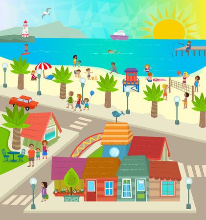 Vue de la plage Ville aérienne d'une ville avec des magasins océan plage et les gens qui font des activités. Eps10