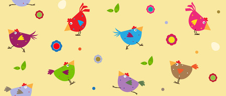 Colorful Chickens  Cute cartoon pattern of colorful chickens and flowers. Eps10