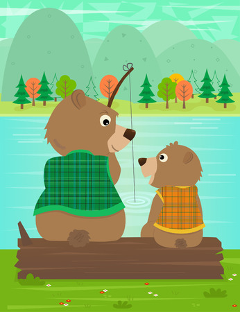 Father and Son Moment  Father bear and his son are fishing together at the river. Eps10 Vector