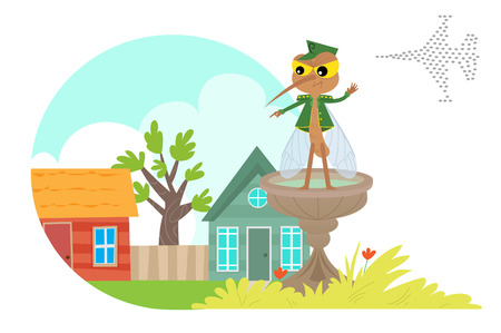 when: Mosquitoes Attack Neighborhood  Mosquito is pointing with his finger toward a neighborhood when behind him army of mosquitoes is ready to attack. Eps10