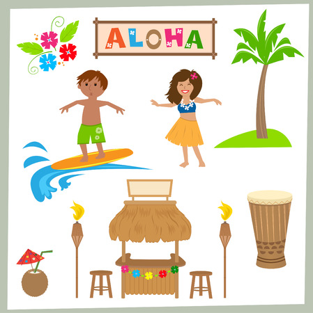 Aloha Set  Cute Hawaiian set of tiki bar drum surfer hula girl and more.  Vettoriali