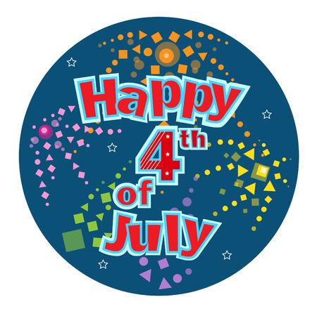 jul: Cuatro de Julio Feliz Cuatro de Julio texto festiva con fuegos artificiales estilizados en un fondo circular azul.