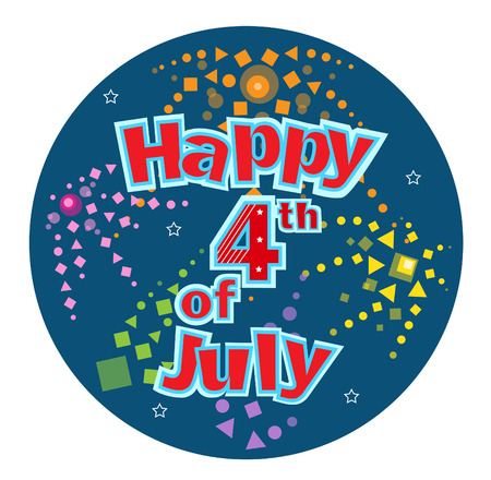 july: Fourth of July  Happy Fourth of July festive text with stylized fireworks in a blue circular background. Illustration