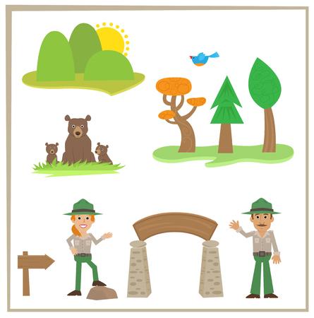 Park Rangers Cartoon set van parkwachters beren en natuur pictogrammen.