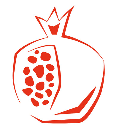 Stylized Pomegranate  Stylized pomegranate made from one red line. 向量圖像