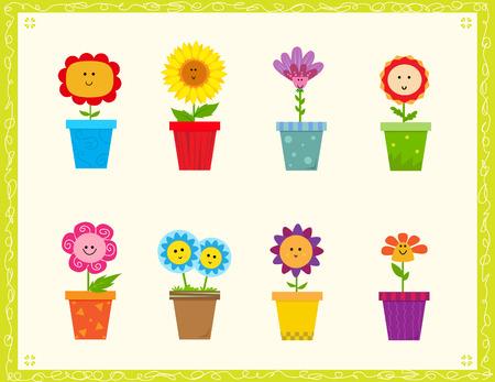 Leuke Bloemen Cartoon set van acht leuke bloemen in een pot. Eps10 Stock Illustratie