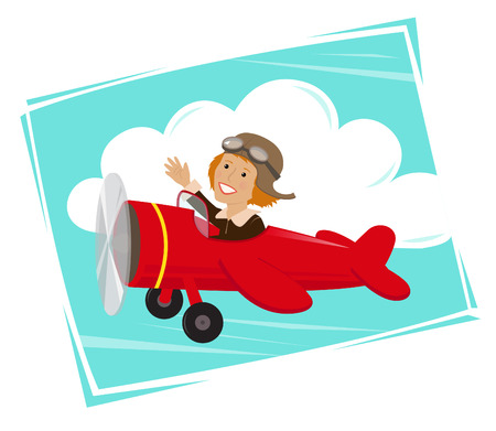 Amelia Flying  Cute cartoon of Amelia Earhart flying in her red plane.  Ilustração
