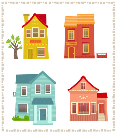 4 つのカラフルな二階建ての家の 2 話、漫画家セット。Eps10