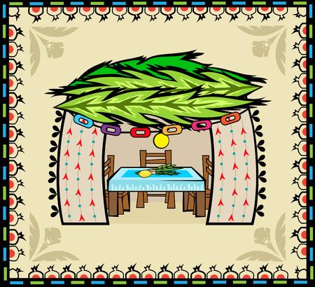 Folk Art Sukkah  Folk art style sukkah with decorative background.