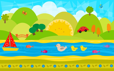 Cheerful Day Pattern  Cute playful imaginative landscape pattern with hills river and animals. Eps10 Illustration