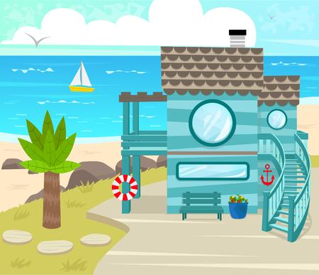 Beach House  Cartoon beach house in front of an ocean view. Eps10