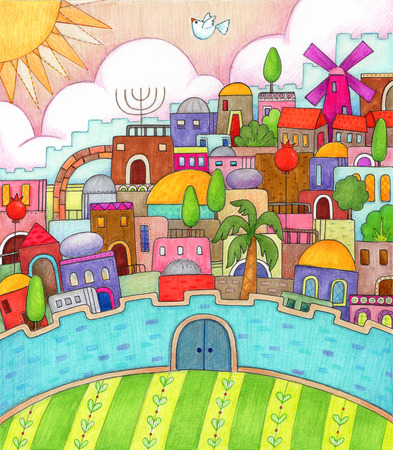 jewish: Surreal Jerusalem - Detailed, colorful illustration of surreal Jerusalem made with markers and colored pencils.