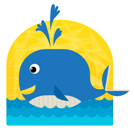 vector clip art: Baby Whale - Cute clip art of a baby whale swimming in the ocean. Eps10
