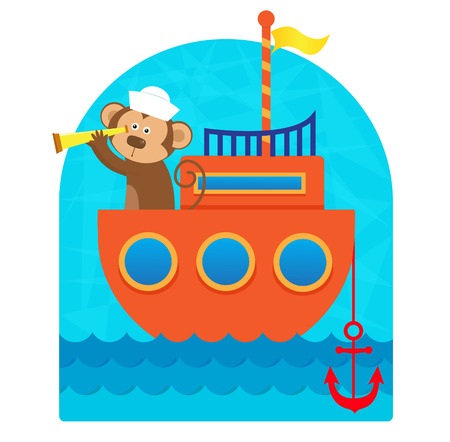 monkey clip: Monkey Sailor - Clip art of a cute monkey sailor with a hat and a telescope sailing with his boat. Eps10 Illustration