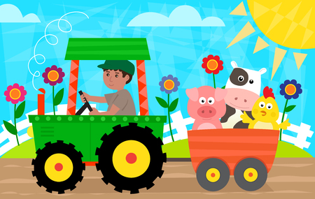 farm tractor: Fun in The Farm - Farmer with a tractor is driving a cart with pig, cow and a chick. Eps10